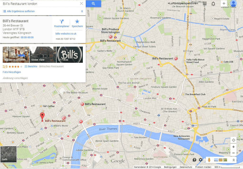 Bills restaurant London map