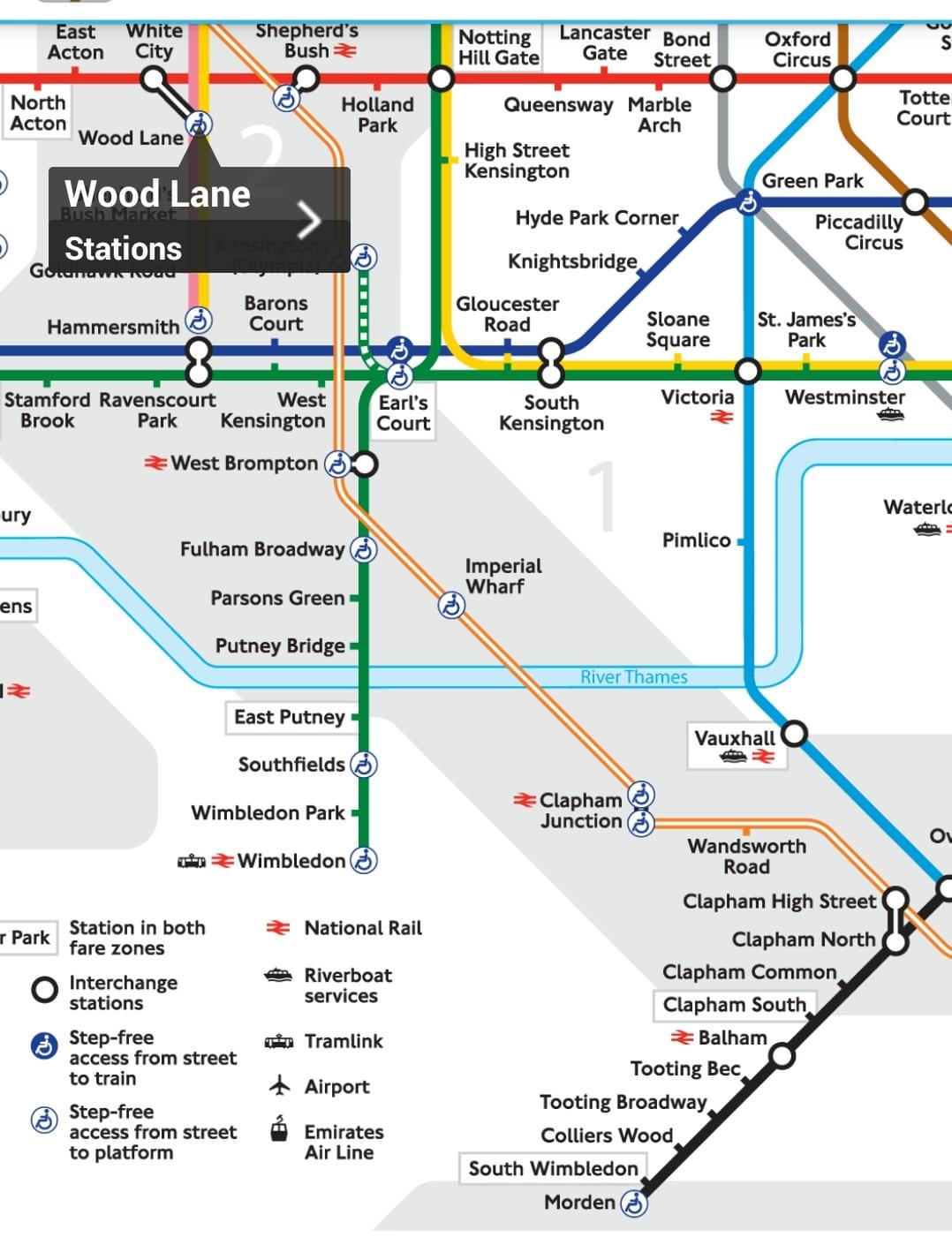 Der Blick auf das Underground verrät, wo sich barrierefreie Stationen befinden.