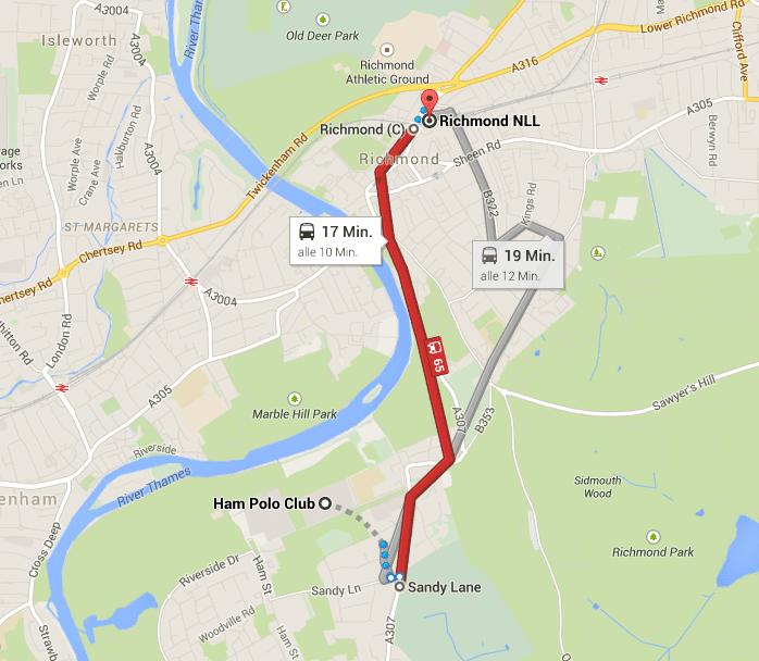 Mit dem Bus nochmal ca. 15 Minuten - Quelle: Google Maps