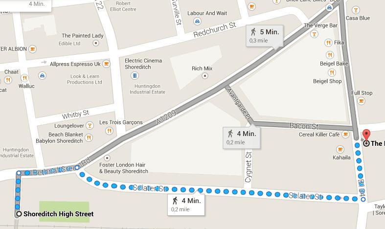 Der Weg zur Gallery - Quelle: Google Maps