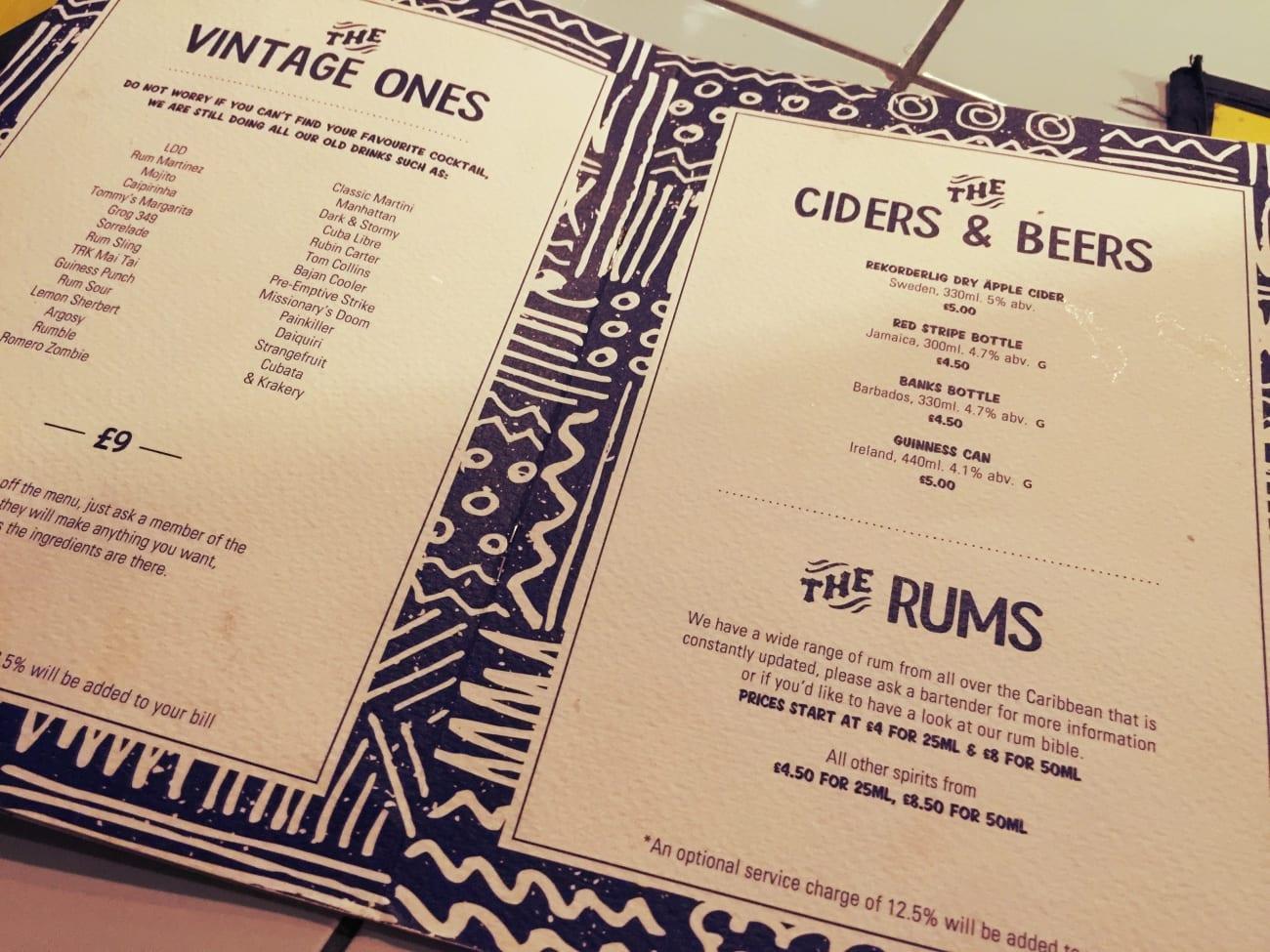 Die Karte der Rum Kitchen