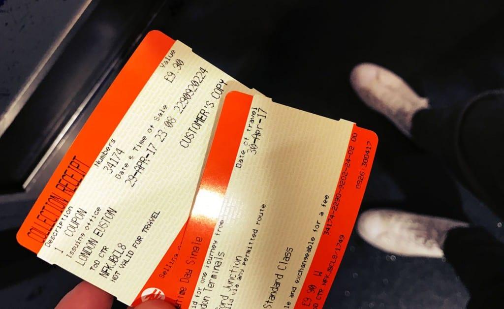 Die Tickets nach Watford Junction sehen dann so aus